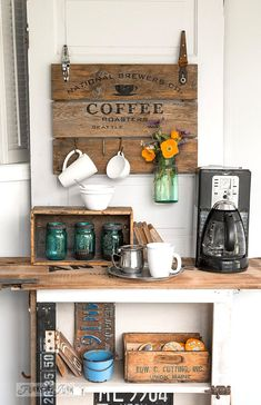 Coffee Bar Ideas - Looking for some coffee bar ideas? Here you'll find home coffee bar, DIY coffee bar, and kitchen coffee station. Coffee Nook, Coffee Bar Home, Coffee Corner, Coffee Bars, Corner Bar, Café Vintage, Vintage Wood Signs, Vintage Style, Funky Junk Interiors