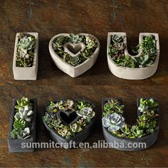 Source Creative I love you shaped cement succulent flower pots on m.alibaba.com