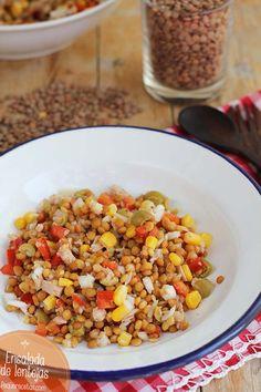 Ensalada de lentejas. La ensalada de lentejas es una deliciosa receta de verano. Os enseñamos esta receta paso a paso para que la disfrutéis en familia.