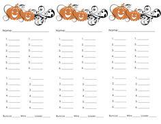 thanksgiving bunco cards
