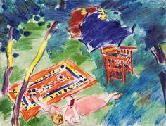 "huariqueje: ""  Rest in the garden - János Vaszary, 1935 Hungarian, 1867-1939 oil on canvas, 63 x 82 cm. """
