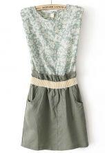 Vestido combinado estampado flores-Verde 18.5