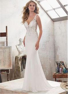 Marvelous Tulle & Acetate Satin V-Neck Mermaid Wedding Dresses With Beaded Lace Appliques