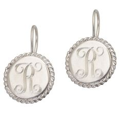 Sterling silver plated initial earrings by SerenityoftheSouth, $22.95