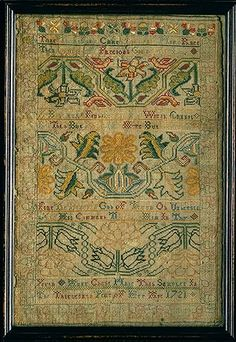 Embroidered sampler, 1721  Anne Chase (American, born 1709)  Newport, Rhode Island  Silk on wool