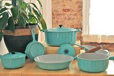 Vintage Le Creuset kitchenware in Paris Blue.