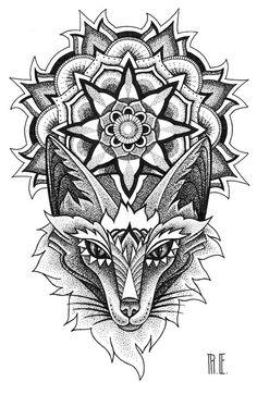 Fox and mandala tatoo dotwork liner
