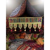 TORAN PARROT GREEN - Decorative Door Valance, Vintage Door Hanging, Hippie Window Ethnic Decor, Vintage indian door hanging, Bohemian Embroidered Valance Toran