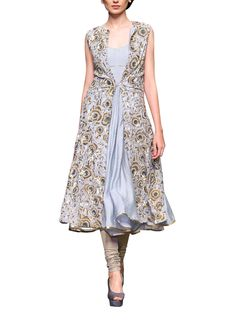 Indian Fashion Designers - Siddhartha Tytler - Contemporary Indian Designer Clothes - Anarkalis - ST-AW15-STC16-ANRKL-002 - Gorgeous Steel Grey Anarkali