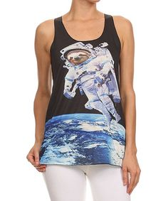 Another great find on #zulily! Black Sloth Astronaut Racerback Tank by Kokette #zulilyfinds