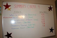 """Movie Theater themed birthday party- I made a """"movie marquee"""" using titles of movies to show the schedule of events"""