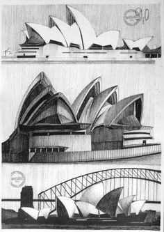 Sydney Opera House by TheDreamEater on DeviantArt Architecture Drawing Sketchbooks, Gcse Art Sketchbook, Architecture Concept Drawings, Architecture Design, House Sketch, House Drawing, Sydney, Blue Mountains Australia, Monuments