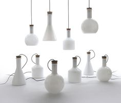 UK designer Benjamin Hubert's Labware series of blown glass lighting