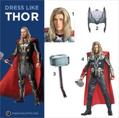 hor, the Marvel superhero, is the crown prince of Asgard. Chris Hemsworth has superhuman strength with the help of his trusty hammer, Mjolnir. You can get the same look as the mythical superhero for Halloween. #thor #costume