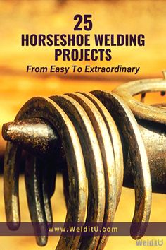 Horseshoes offer endless possibilities for useful metalworking projects. Horseshoe welding projects make great gifts, rustic decor pieces, and much Welding Art Projects, Welding Crafts, Metal Art Projects, Welding Jobs, Blacksmith Projects, Welding Ideas, Metal Crafts, Horseshoe Projects, Horseshoe Crafts
