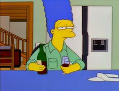 Marge drinking wine at Cypress Creek. Memes Simpsons, Simpsons Characters, The Simpsons, Cartoon Icons, Cartoon Memes, Cartoons, Goat Cartoon, Memes Arte, Rick E