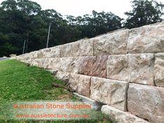 Sandstone Blocks - Retaining Wall Blocks / each Stone Cladding Exterior, Sandstone Cladding, Sandstone Wall, Natural Stone Wall, Natural Stones, Retaining Wall Blocks, Log Wall, Stone Blocks, Landscaping Retaining Walls