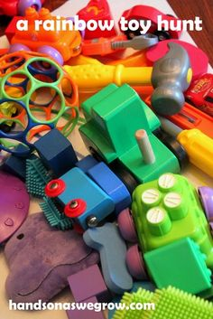 Colors: A Rainbow Toy Hunt - Re-pinned by @PediaStaff – Please Visit http://ht.ly/63sNt for all our pediatric therapy pins