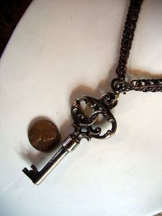 Skeleton key necklace pendant ornate bronze victorian by Gwen Delicious Jewelry Design for $65.00