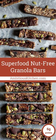 Superfood nut free granola bars made with toasted quinoa, oats, dried figs, sunflower seeds, pumpkin seeds, flaxseed and chia! A drizzle of dark chocolate on top makes them extra special.