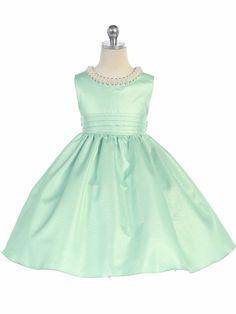 Sage Beaded Neckline Fit & Flare Dress Green Flower Girl Dresses, Girls Dresses, Summer Dresses, Fit Flare Dress, Neckline, Sage, Fitness, Pink, Wedding
