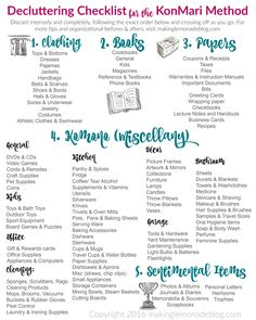 free printable decluttering list for the KonMari method