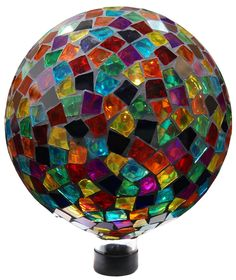 10 Inch Mosaic Gazing Globe - Red/Blue/Yellow