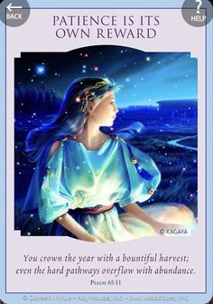Love & Light Oracle by Doreen Virtue , Patience is it's own reward 😇 Spiritual Prayers, Spiritual Messages, Intuitive Empath, Angel Guide, Oracle Tarot, Doreen Virtue, Angel Cards, New Energy, Psychic Abilities