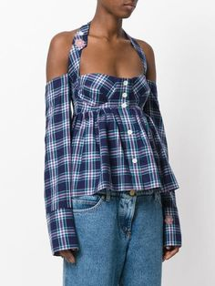 7299ddc9 Natasha Zinko plaid halterneck top $360 - Buy AW17 Online - Fast Global  Delivery, Price