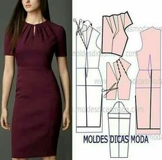 DIY Women's Clothing : molde vestido lilas -Read More – Sheath dress - pivot dart and slash for pleated neckline How to slash & spread to get these pleats on dress bodice What About Amazing Easy Sewing Projects ? 12 Sewing Patterns Tips Fashion Sewing, Diy Fashion, Ideias Fashion, Fashion Outfits, Dress Fashion, Fashion Tips, Diy Clothing, Sewing Clothes, Dress Sewing Patterns