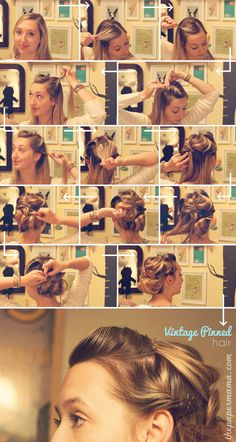 Vintage Pinned Updo for medium to long hair.