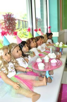 Tammy M's Birthday / American Girl - American Girl @ Sweet Frog at Catch My Party American Girl Birthday, American Girl Parties, American Girl Crafts, American Girls, Girls Tea Party, Tea Party Birthday, Birthday Party Themes, Birthday Ideas, Little Girls