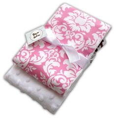 Trendy Burp Cloth Set of 2 Candy Damask and by thepatacakebaby, $16.99