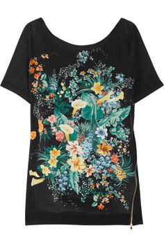 Sandro  Printed silk and linen-jersey top