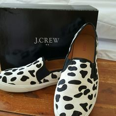 Fun J.Crew Calf Hair Slip Ons Worn once! Very cute J.Crew slip ons in Snow Leopard calf hair. Size 8. Excellent condition! J. Crew Shoes