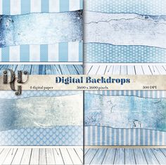 Digital Backdrop Shabby Chic blue room grunge by DreamUpGraphic