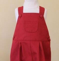 Salopette hiver en sergé de coton rouge : Mode Bébé par les-bambins-bpcouture