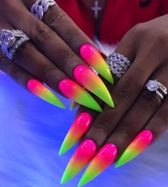 Want to know how to do gel nails at home? Learn the fundamentals with our DIY tutorial that will guide you step by step to professional salon quality nails. Summer Nails Neon, Summer Acrylic Nails, Cute Acrylic Nails, Crazy Summer Nails, Edgy Nails, Swag Nails, Stiletto Nails, Long Square Acrylic Nails, Crazy Nail Designs