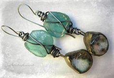Scorched.  beaded earrings aqua Roman glass dangle by beatnheart, $48.00