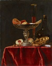 Still Life with a Silver Bowl, Fruits, a Glass...