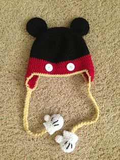 Crochet Mickey Mouse hat. It's the mitten detail that's the winner!