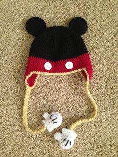 Crochet Mickey Mouse hat- no yellow though. It's the mitten detail that's the winner! Crochet Hat Earflap, Crochet Baby Mittens, Crochet Kids Hats, Crochet Baby Booties, Crochet Crafts, Crochet Projects, Knitted Hats, Earflap Beanie, Crochet Mickey Mouse
