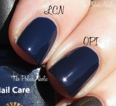 Holiday/Winter 2013 Collection Comparisons // LCN Home Sweet Home vs OPI Road House Blues. These two are pretty close, Road House Blues leans a bit more purple and is a little darker but it's not super noticeable on the nail. I used 2 coats of each polish.