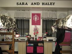 UGA Brumby Dorm, This is my and my roommates dorm room. It is a small area so we did the best we could to decorate and maximize the space. My roommate loves pink :) so we decided to go with a black, white and pink color scheme! We love it and hope you will too!, This is the back wall in our dorm room. , Dorm Rooms Design