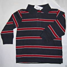 TCP  Toddler Boy's Long Sleeve Striped Polo Charcoal / Maroon -Sz 3T