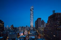 56 Leonard 'Jenga Tower' in New York by Herzog & de Meuron - bynnz Academia Completa, Wooden Skyscraper, Jenga Tower, Jacques Herzog, Leonard Street, Concrete Staircase, New York Buildings, Outdoor Theater, High Rise Building