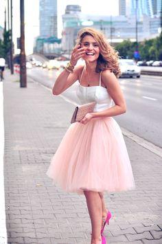 Tulle skirt + crop top.