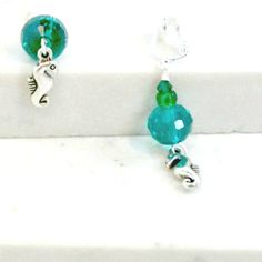 Handmade earrings teal blue crystals green clip on or pierced seahorse by Pat2 #Pat2 #DropDangle