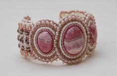 Rhodochrosite beaded Cuff