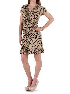 dots: Short Sleeve Animal Print Ruffle Dress ... $20.00